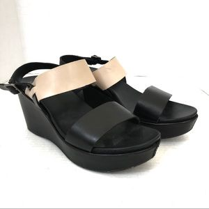 Kork-ease Black and Cream Wedges Size 41